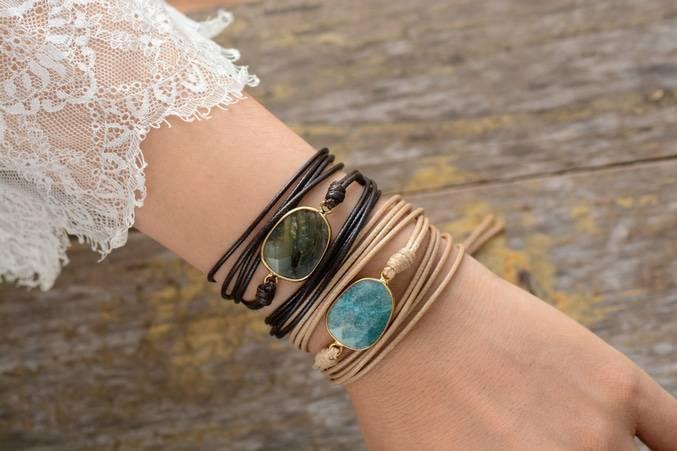 Bracelet de Labradorite Bijoux pierre naturelle Bracelet pierre naturelle Type de l'article: Bracelets