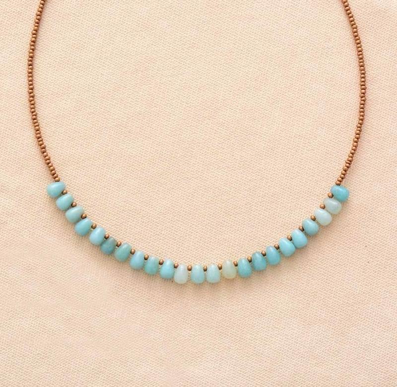 Collier d'Amazonite bleue
