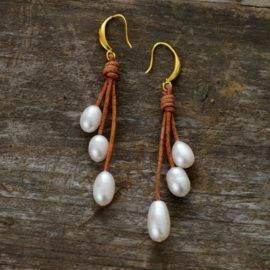 Boucle d'oreilles en perles naturelles