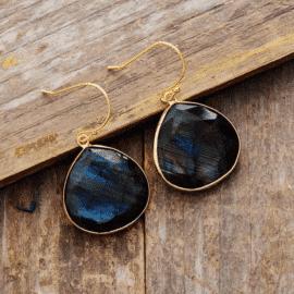 Boucles d'Oreilles Pierre Naturelle «Labradorite» Bijoux pierre naturelle Boucles d'oreilles pierre naturelle