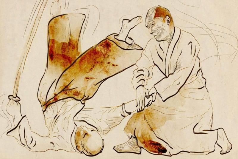 Dessin à la main traditionnel Japonais représentant un combat d'aikido