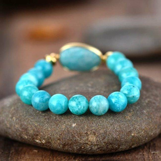 Bracelet d'Amazonite bleue