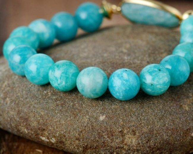 Bracelet d'Amazonite bleue Bijoux pierre naturelle Bracelet pierre naturelle