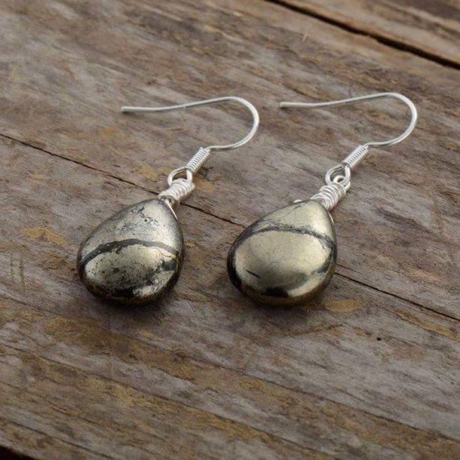 Boucles d'Oreilles Pierre Naturelle «Pyrite» Bijoux pierre naturelle Boucles d'oreilles pierre naturelle