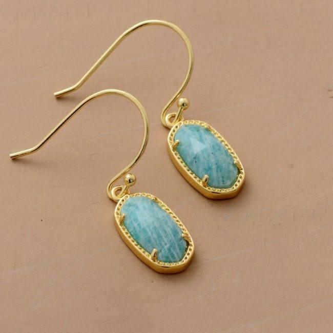 Boucles d'oreilles dorées en Amazonite