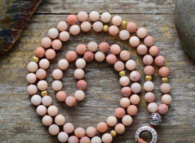 Collier Mala en Aventurine Rose Bijoux pierre naturelle Collier pierre naturelle