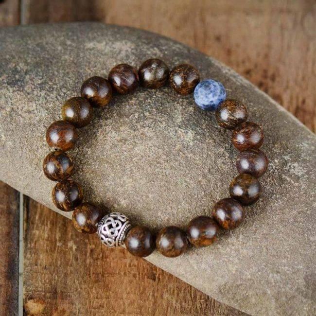 Bracelet mala tibétain en Bronzite