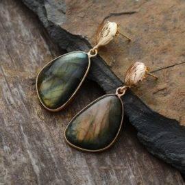 Boucles d'oreilles Larmes dorées de Labradorite