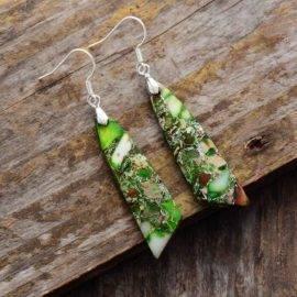 Boucles d'Oreilles Pierre Naturelle «Jaspe» Bijoux pierre naturelle Boucles d'oreilles pierre naturelle