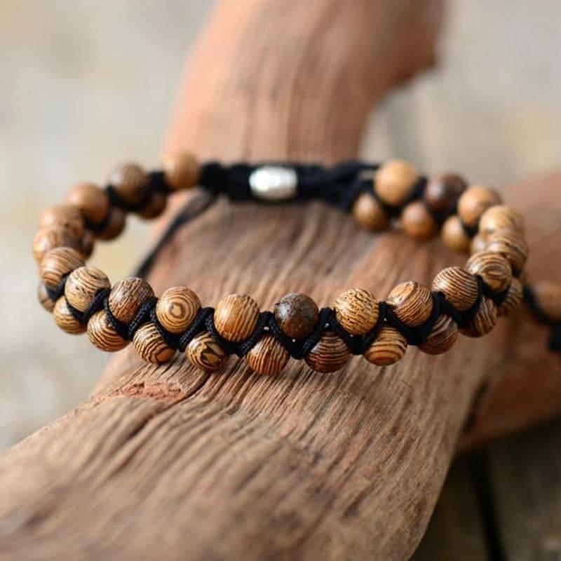 Bracelet de couples en bois naturel