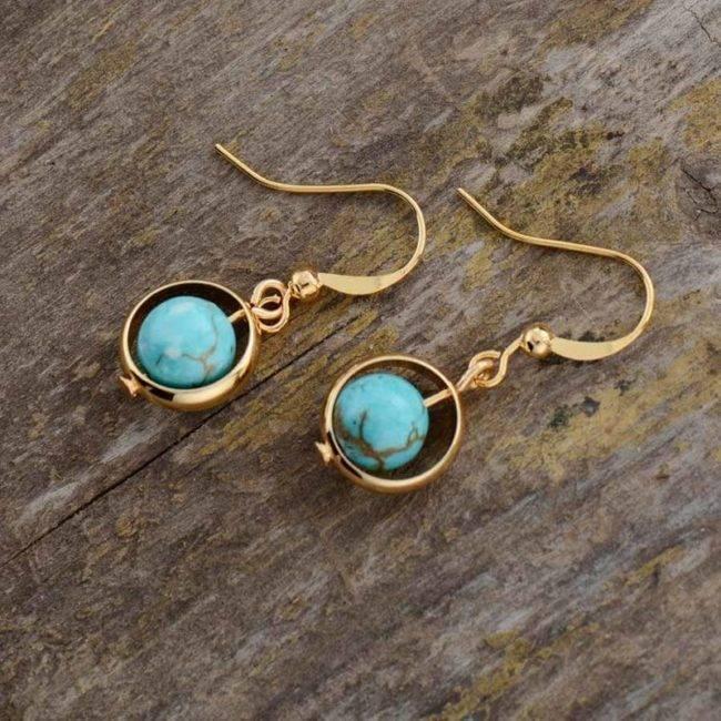 Boucles d'oreilles Planète Dorée de Turquoise