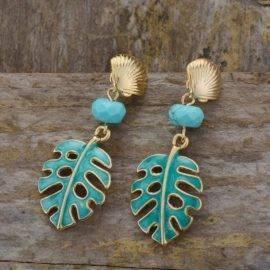 Boucles d'oreilles Feuilles de Turquoise