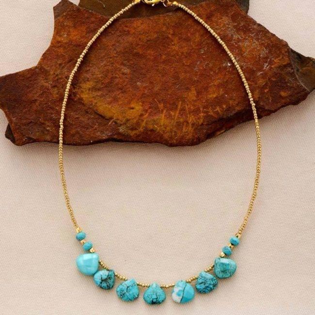 Collier pierre de Turquoise dorée