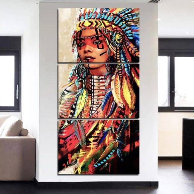Toile Peinture Guerrière amérindienne