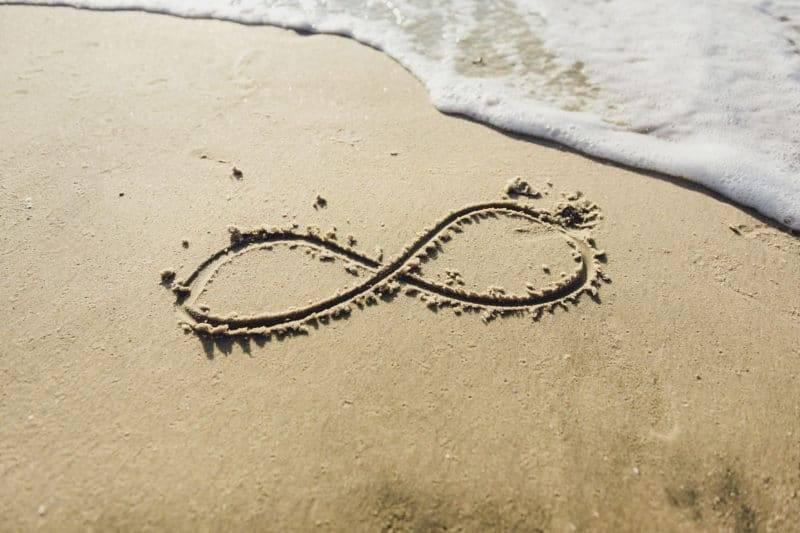 Symbole de l'infini écrit sur le sable sur la plage, l'océan