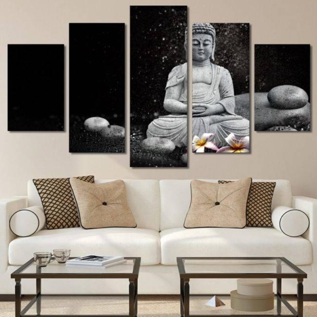 Tableau Bouddha en méditation 5 pièces