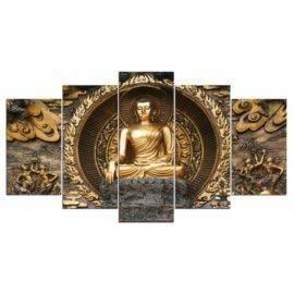 Tableau Statue de Bouddha 5 pièces