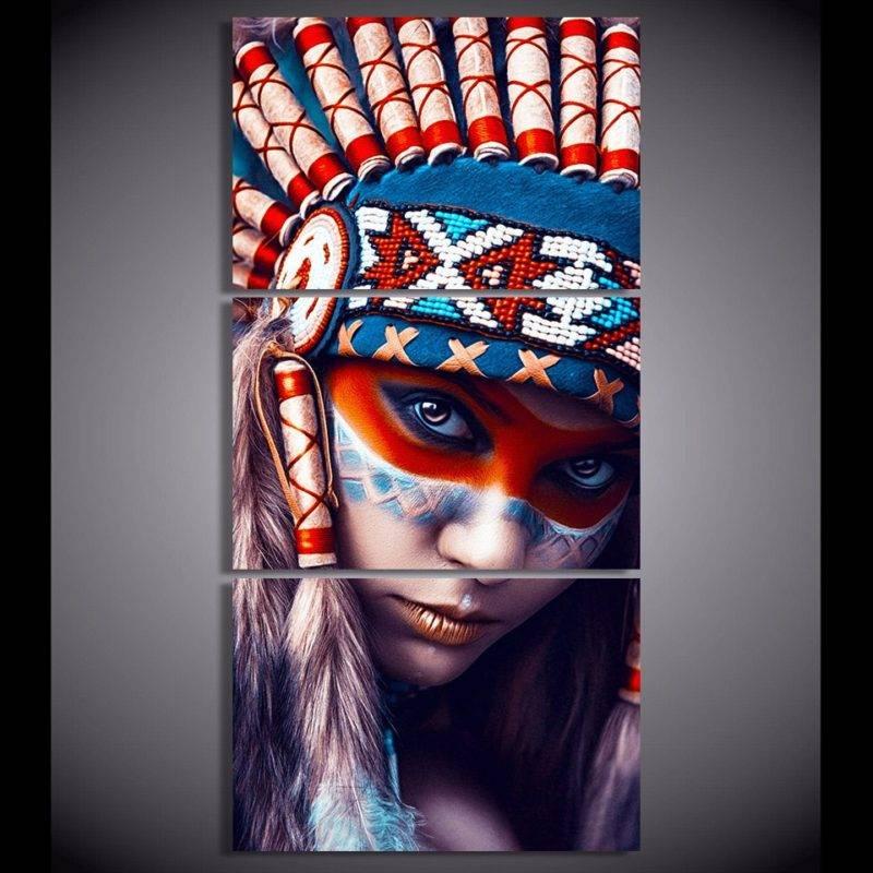 Tableau Amérindienne 3 pièces