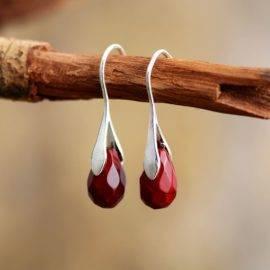 Boucles d'oreilles Reine de la Jaspe rouge