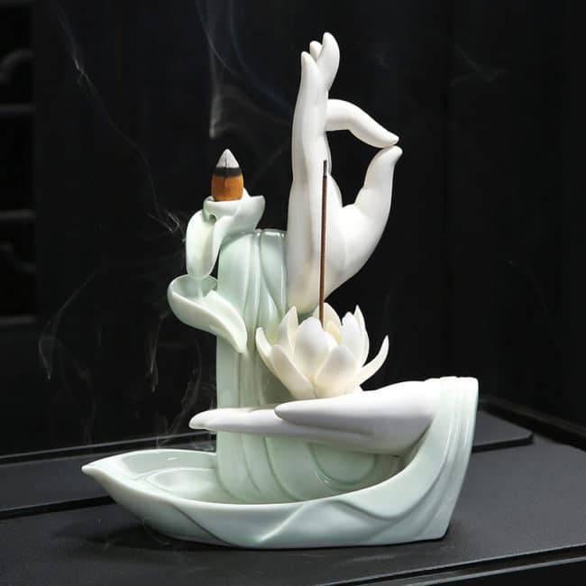 Porte et brûle encens main de Bouddha