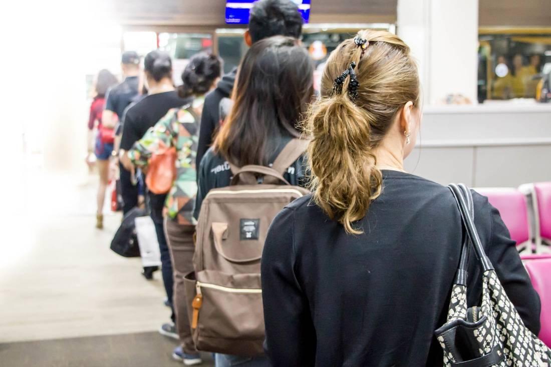 File d'attente dans un aéroport