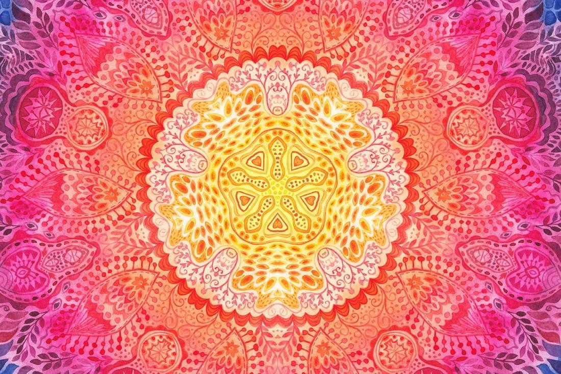 Mandala rouge en aquarelle