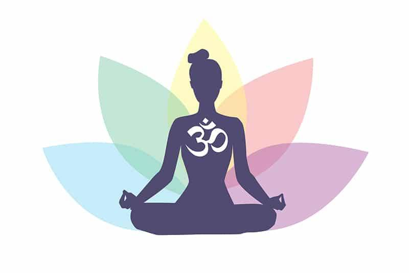 Icone de femme méditant avec une fleur de lotus et le symbole Om
