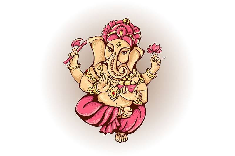 La divinité Ganesh habillée en rose