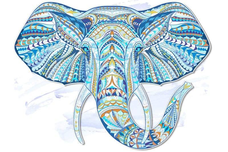 Illustration d'éléphant coloré mandala