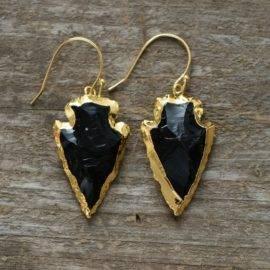 Boucles d'oreilles Flèche en Obsidienne
