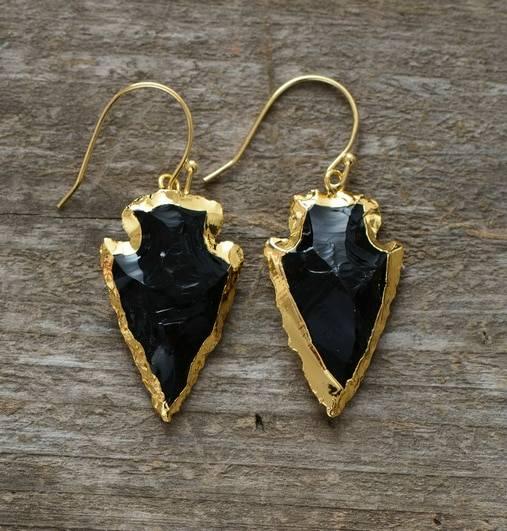 Boucles d'Oreilles Pierre Naturelle «Flèche Obsidienne» Bijoux pierre naturelle Boucles d'oreilles pierre naturelle