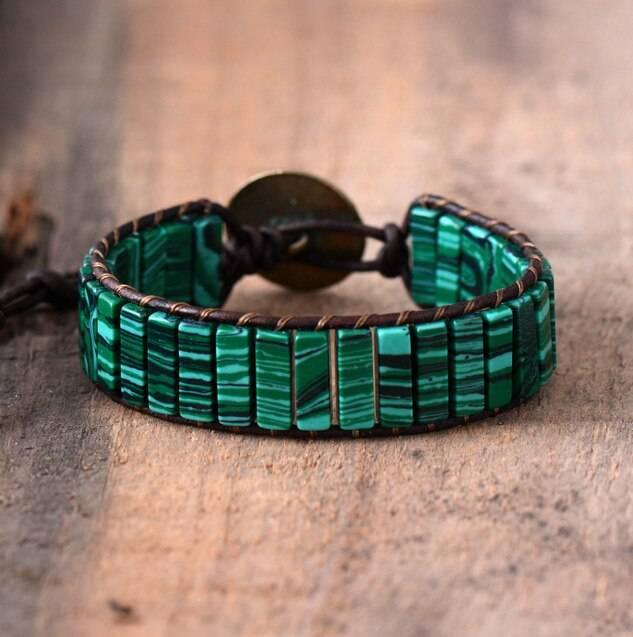 Bracelet Revitalisant en Malachite fil marron