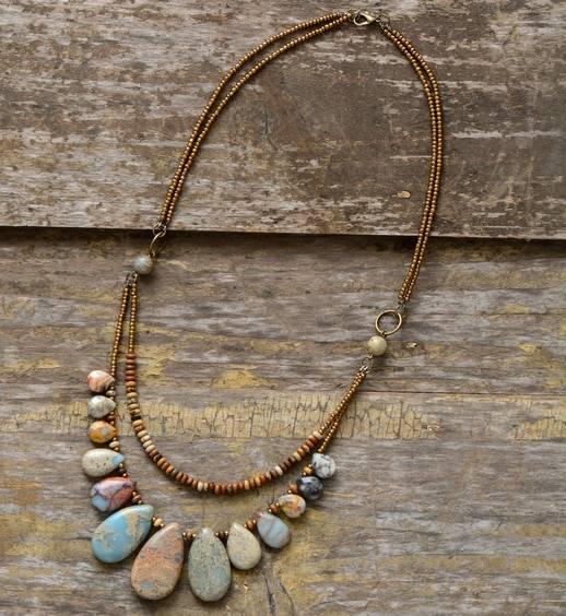 Collier Agate et Jaspe Bijoux pierre naturelle Collier pierre naturelle
