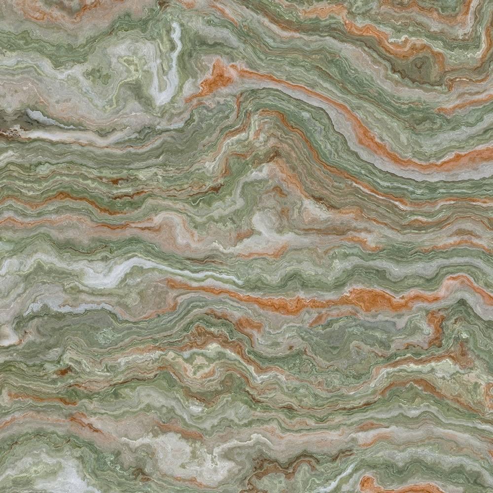 Tranche de pierre d'Onyx Vert en gros plan