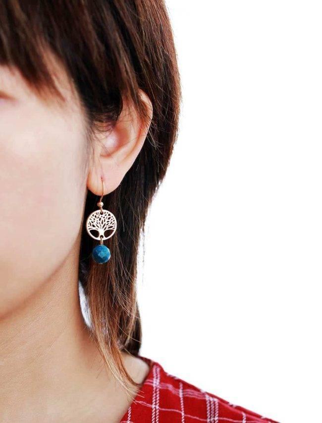 Boucles d'oreilles Arbre de Vie en Apatite