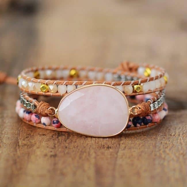 Bracelet Amour de Quartz Rose