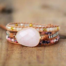 Bracelet Amour de Quartz Rose