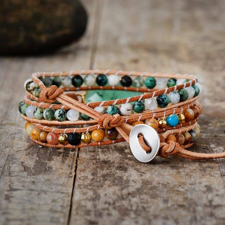 Bracelet de Jade Bijoux pierre naturelle Bracelet pierre naturelle Taille du Bracelet: Environ 50 cm (3 tailles réglables)
