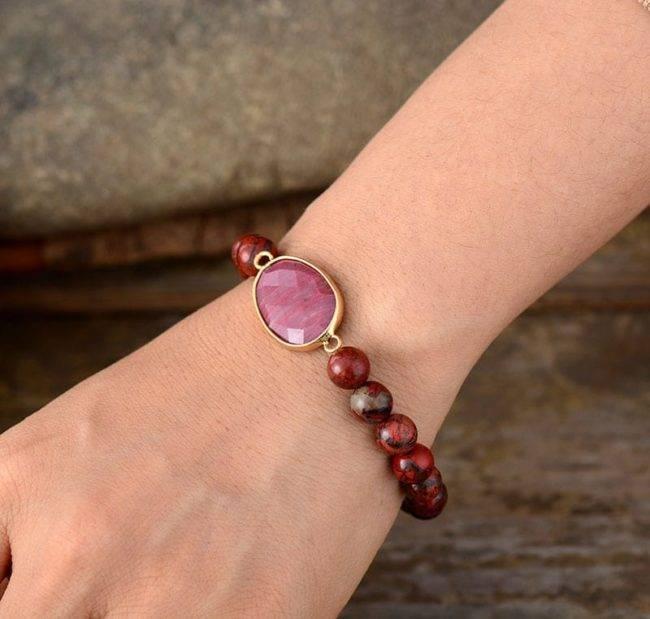 Bracelet d'affection en Rhodonite