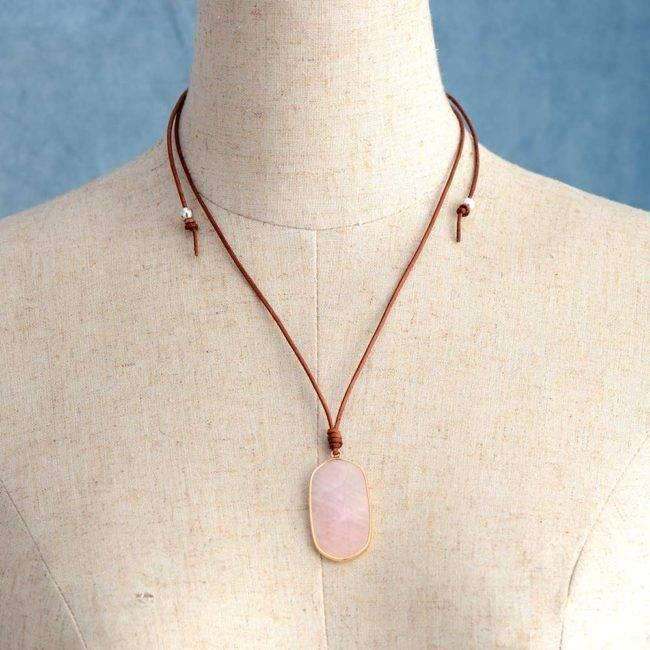 Collier Quartz Rose Tendresse Bijoux pierre naturelle Collier pierre naturelle