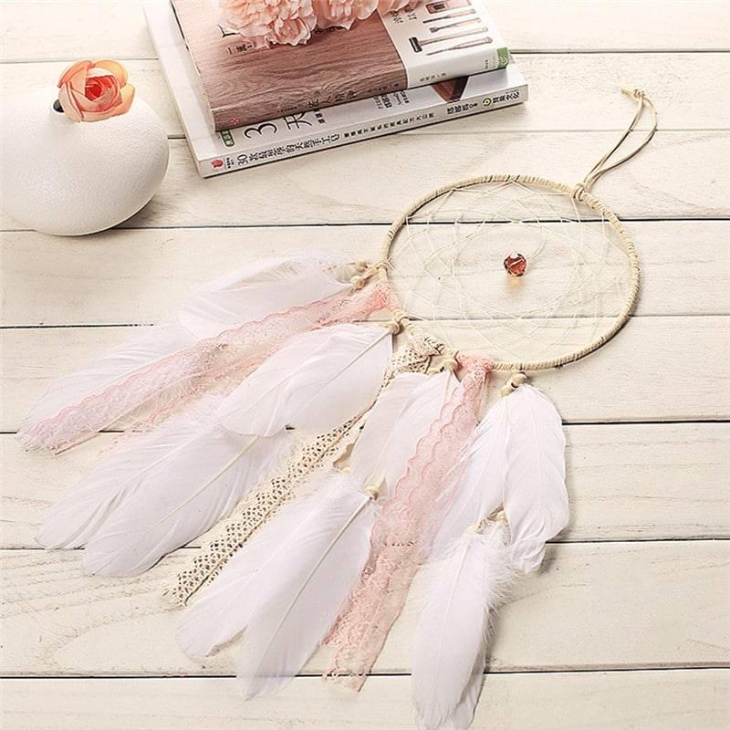 Attrape rêves rose et blanc