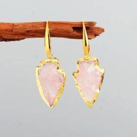 Boucles d'Oreilles Pierre Naturelle «Flèche de Quartz» Bijoux pierre naturelle Boucles d'oreilles pierre naturelle
