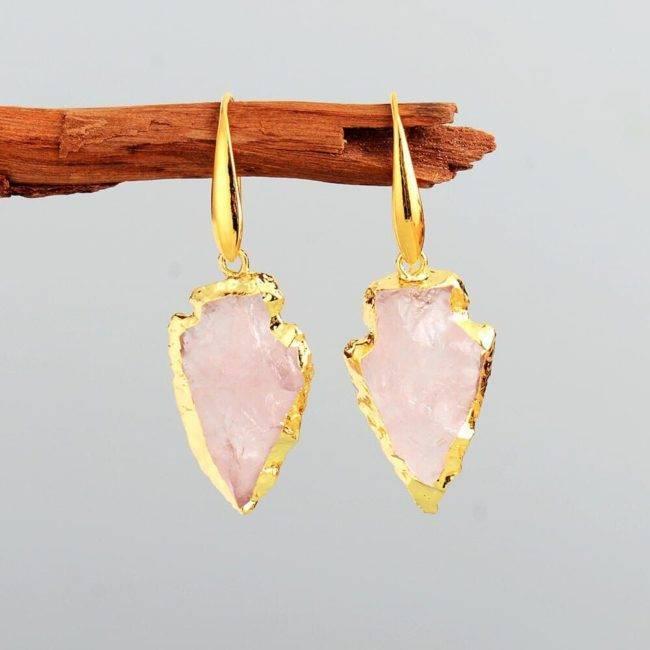 Boucles d'oreilles flèche en Quartz rose