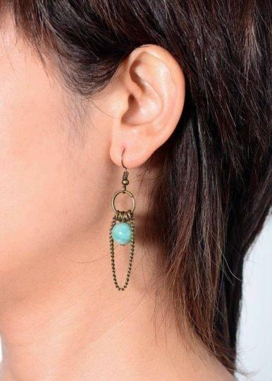 Boucles d'Oreilles Pierre Naturelle «Amazonite Vintage» Bijoux pierre naturelle Boucles d'oreilles pierre naturelle