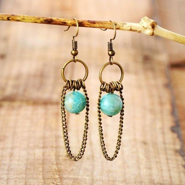 Boucles d'oreilles vintage pierre d'amazonite