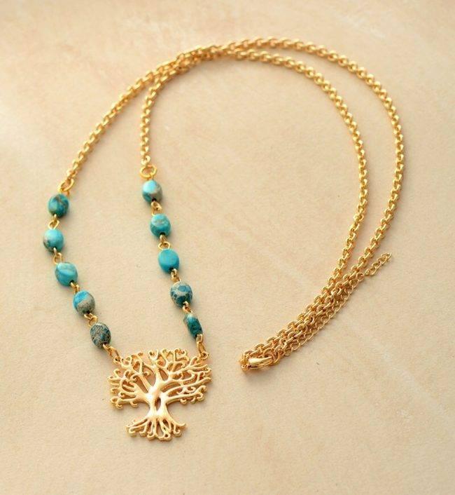 Pendentif arbre de vie plaqué or en jaspe bleue