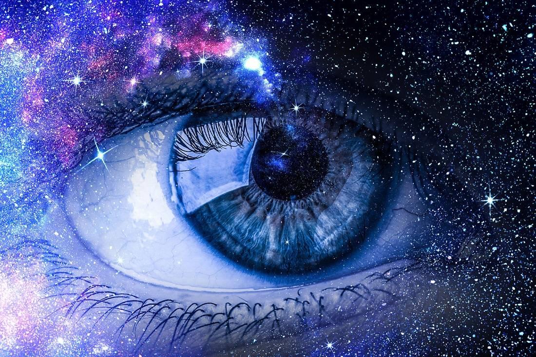 Oeil humain dans une représentation de l'espace