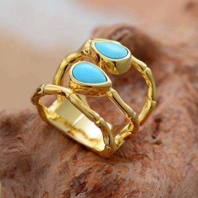 Bague Pierre de Turquoise Bague pierre naturelle Bijoux pierre naturelle a7796c561c033735a2eb6c: Doré