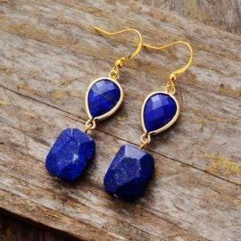 Boucles d'Oreilles Pierre Naturelle «Lapis Lazuli» Bijoux pierre naturelle Boucles d'oreilles pierre naturelle
