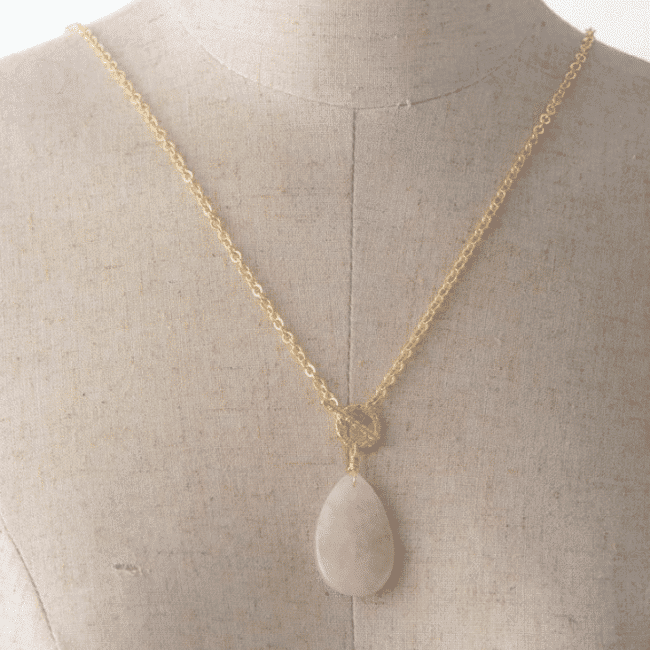 Collier Goutte Quartz Rose